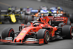 May 26, 2019 - Montecarlo, Monaco - German four time World Champions Sebastian Vettel of Italian team Scuderia Ferrari Mission Winnow driving his single-seater SF90 during the 90th edition of the Monaco GP, 6th stage of the Formula 1 world championship, in Monaco-Ville, Monaco  (Credit Image: © Andrea Diodato/NurPhoto via ZUMA Press)