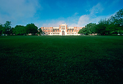 Stock photo of an expanse of green space on the Rice University campus.