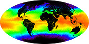 Credit Image courtesy:MODIS Ocean Group, NASA GSFC, and the University of Miami: sea surface temperature shown in false-colour image.  a one-month composite for May 2001. Red and yellow indicates warmer temperatures, green is an intermediate value, while blues and then purples are progressively colder.