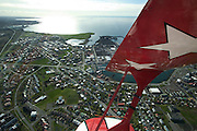 Flying with Benny (Bjorn) Thoroddsen in a Pitts Special over Hafnarfjordur, near Reykjavik, Iceland.