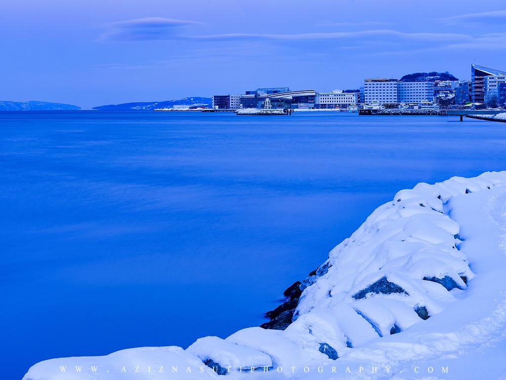 website: www.aziznasutiphotography.com                                         Picture has been taken from Skansen towards the Pirbade  Swiming pool of TRondheim