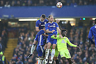 Branislav Ivanovic of Chelsea (c) heads the ball from a corner. The Emirates FA cup, 3rd round match, Chelsea v Peterborough Utd at Stamford Bridge in London on Sunday 8th January 2017.<br /> pic by John Patrick Fletcher, Andrew Orchard sports photography.