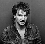 Photo of Bono back stage after U2 concert  at the Hammersmith Palais London 1981