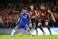 Pedro of Chelsea in action with Andrew Surman of Bournemouth marking. Pedro of Chelsea in action. Barclays Premier league match, Chelsea v AFC Bournemouth at Stamford Bridge in London on Saturday 5th December 2015.<br /> pic by John Patrick Fletcher, Andrew Orchard sports photography.