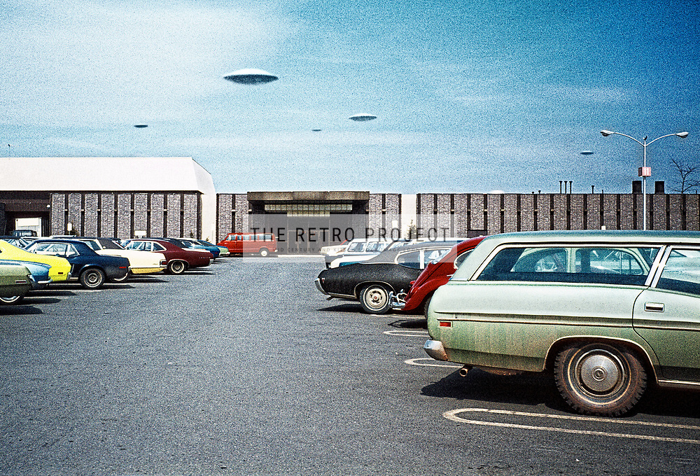 Vintage Image of Mall UFO's - Flying Saucers Over Parked Cars grainy 35mm slide