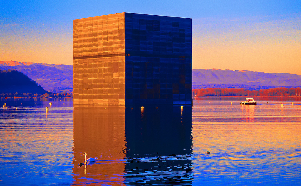 Expo 02, Lake of Morat, the monolith, creation realized by famous architect Jean Nouvel, Switzerland