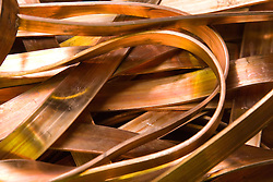 Flat electro copper stripping at a metal recycling centre,