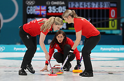 Great Britain's skipper Eve Muirhead watches as Lauren Gray and Vicki Adams sweep during the Women's Bronze Medal match at the Gangneung Curling Centre during day fifteen of the PyeongChang 2018 Winter Olympic Games in South Korea.