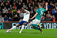Demarai Gray of England U21's crosses the ball during the U21 International match between England and Germany at the Vitality Stadium, Bournemouth, England on 26 March 2019.