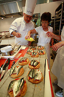 """Lenotre Ecole Culinaire, Paris,..short course - """"Return to the Market"""" with Chef Jacky Legras..the tartalette of confites of tomatoes and mackerel..photo by Owen Franken for the NY Times..July 12, 2007......."""