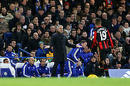 Jose Mourinho, the Chelsea Manager looks on from the touchline. Barclays Premier league match, Chelsea v AFC Bournemouth at Stamford Bridge in London on Saturday 5th December 2015.<br /> pic by John Patrick Fletcher, Andrew Orchard sports photography.
