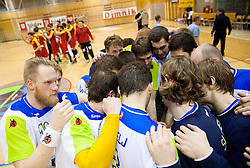Players of Slovenia after winning during friendly handball match between National Teams of Slovenia and F.Y.R. of Macedonia on December 28, 2013 in Sports hall Polaj, Trbovlje, Slovenia. Photo by Vid Ponikvar / Sportida