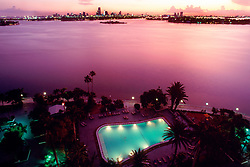 Miami Beach, Biscayne Bay, .and downtown Miami at sunset, .view from Miami Beach, Florida.
