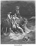 """""""The Deluge"""" (or """"The Great Flood"""") Genesis 8:3-4 From the book 'Bible Gallery' Illustrated by Gustave Dore with Memoir of Doré and Descriptive Letter-press by Talbot W. Chambers D.D. Published by Cassell & Company Limited in London and simultaneously by Mame in Tours, France in 1866"""