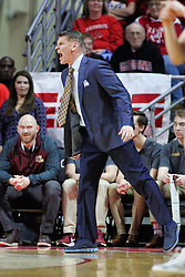 NORMAL, IL - February 02: Porter Moser gets excited during a college basketball game between the ISU Redbirds and the University of Loyola Chicago Ramblers on February 02 2019 at Redbird Arena in Normal, IL. (Photo by Alan Look)