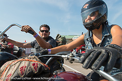 Wrench Magazine editor Cary Brobeck with his wife Karen during the 75th Annual Sturgis Black Hills Motorcycle Rally.  SD, USA.  August 3, 2015.  Photography ©2015 Michael Lichter.