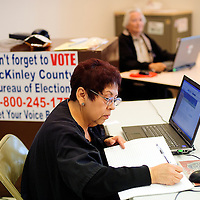 101112  Adron Gardner<br /> <br /> Election worker Brenda Duran works away at the McKinley County Courthouse as early voting begins Thursday in Gallup.