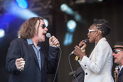 """Jake Black and Aurora Dawn, Alabama 3 play the main stage. Sunday, Rockness 2013, the annual music festival which took place in Scotland at Clune Farm, Dores, on the banks of Loch Ness, near Inverness in the Scottish Highlands. The festival is known as """"the most beautiful festival in the world""""."""