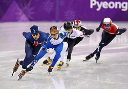 Great Britain's Farrell Treacy (left) on his way to finishing fourth in the Short Track Speed Skating - Men's 1,000m Quarterfinal 3 at the Gangneung Oval during day eight of the PyeongChang 2018 Winter Olympic Games in South Korea.