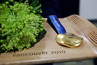 OL 2010<br /> Foto: DPPI/Digitalsport<br /> NORWAY ONLY<br /> <br /> These ergonomic Wooden trays will showcase the Vancouver 2010 medals as they are presented to the athletes. They have a non-slip surface to protect the undulating medals, feature a unique hand-cropped portion of larger Aboriginal artworks and were designed by VANOCs late design director Leo Obstbaum and Vancouver-based industrial designer James Lee.<br /> 2010 OLYMPIC WINTER GAMES - UNVEIL OF VICTORY CEREMONIES PODIUM AND COSTUME DESIGNS -<br /> 02FEB10 - VANCOUVER, CANADA