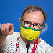 TOKYO, JAPAN - JULY 20: Strath Gordon, Head of Public Affairs and Communications Media, Australian Olympic Committee during a Press Conference in the Main Press Centre ahead of the Tokyo 2020 Olympic Games on July 20, 2021 in Tokyo, Japan. (Photo by Tim Clayton/Corbis via Getty Images)