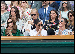 July 13, 2019 - London, London, United Kingdom - Image licensed to i-Images Picture Agency. 13/07/2019. London, United Kingdom. Kate Middleton, the Duchess of Cambridge, Meghan Markle, the Duchess of Sussex and Pippa Middleton  in the Royal Box for the Ladies Final on day twelve of the Wimbledon Tennis Championships in London. (Credit Image: © Stephen Lock/i-Images via ZUMA Press)