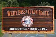 Alaska, Skagway White Pass Railroad sign