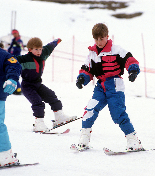 Princce William and Prince Harry on the nursery slopes of Lech, Austria. Photograph by Jayne Fincher