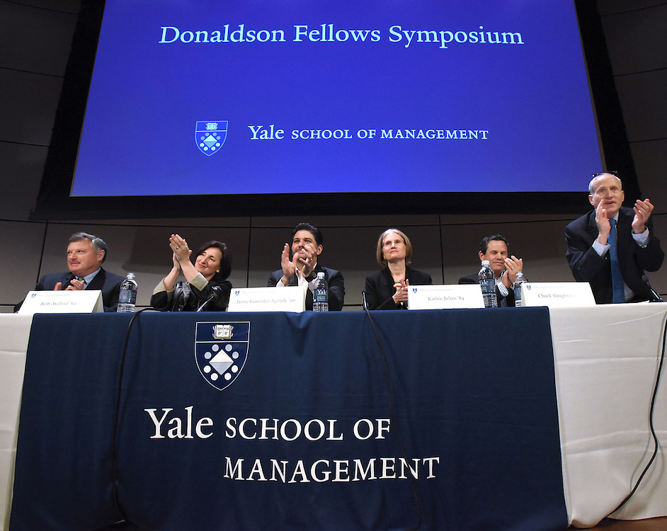 Photo by Mara Lavitt <br /> March 27, 2015<br /> The Donaldson Symposium at the Yale School of Management. Participants were Professor Tom Kolditz,; Beth Axelrod '89, senior v.p., human resources at eBay, Jaime Gonzalez Aguade '96, president of the Mexican Banking and Securities Commission;  Kathie Julian '84, of the Asian Development Bank; Chuck Slaughter '90, founder and CEO of Living Goods, and Dean Edward Snyder.
