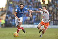 Portsmouth Midfielder, Anton Walkes (2) gets away from Blackpool Midfielder, Jay Spearing (44) during the EFL Sky Bet League 1 match between Portsmouth and Blackpool at Fratton Park, Portsmouth, England on 24 February 2018. Picture by Adam Rivers.