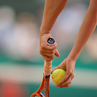 03 June 2007: Details of Swiss player Patty Schnyder as she serves to Russian player Maria Sharapova during the French Tennis Open fourth round match, won 3-6, 6-4, 9-7 by Maria Sharapova against Patty Schnyder, on day 8 at Roland Garros, in Paris, France.