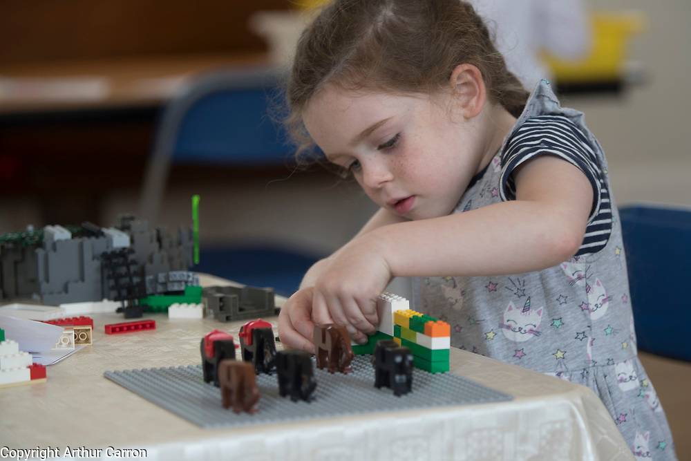 NO FEE PICTURES 23/4/19 Aisling Brady, age 5, Ballinteer, at the Housing, Art and The Envoirnment Childrens workshop at Richmond Barraks in Inchicore, as part of the Vienna Model of Housing Exhibition Picture:Arthur Carron