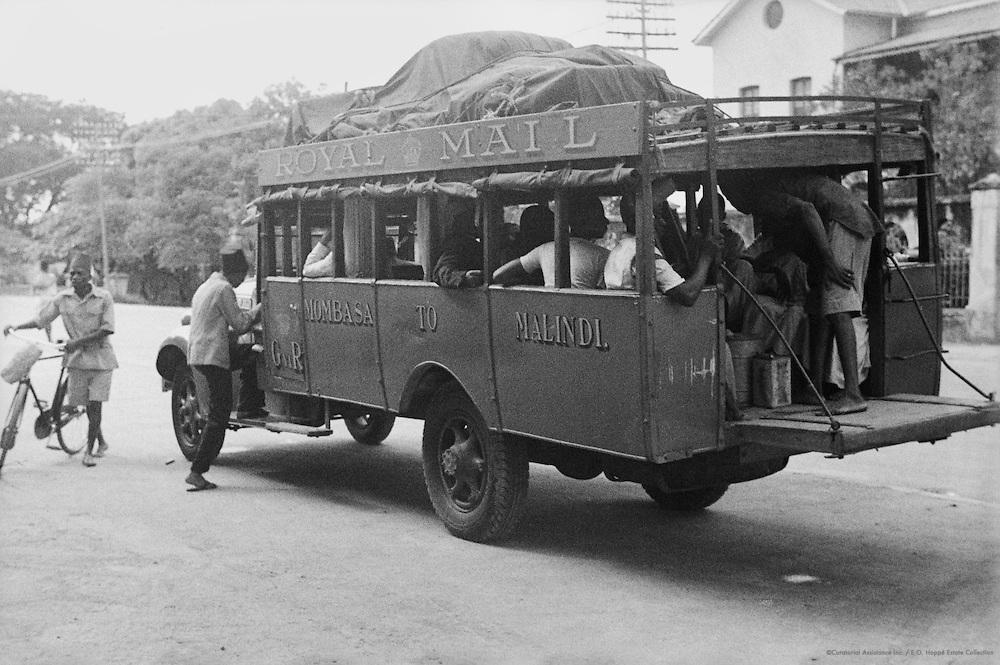 Royal Mail Coach, People Gathered Around Fire, Mombasa, Kenya, Africa, 1937