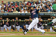 Minnesota Twins left fielder Josh Willingham bats against the Oakland Athletics on July 13, 2012 at Target Field in Minneapolis, Minnesota.  The Athletics defeated the Twins 6 to 3.  © 2012 Ben Krause