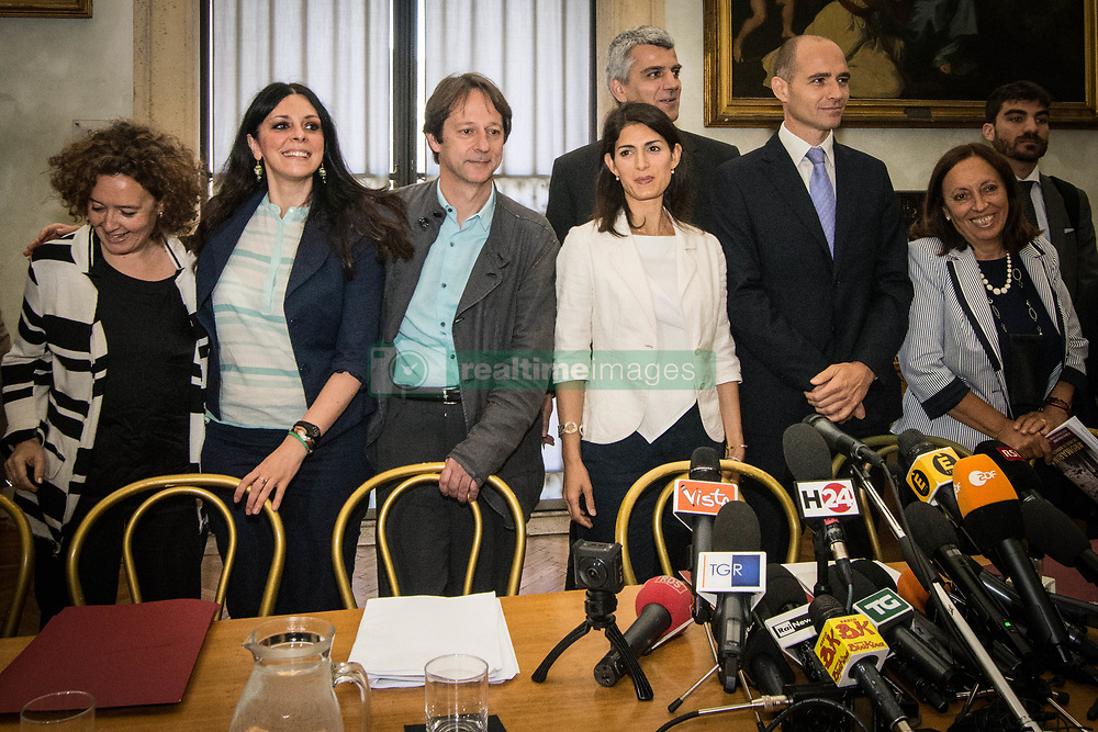June 21, 2017 - Rome, Italy, Italy - The Mayor of Rome Virginia Raggi the Capitoline junta and the M5S councillors press Conference #ROMARINASCE one  year of results and future objective, in Rome, Italy, on June 21, 2017. (Credit Image: © Andrea Ronchini/NurPhoto via ZUMA Press)