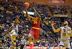Mar 6, 2019; Morgantown, WV, USA; Iowa State Cyclones guard Terrence Lewis (24) shoots in the lane during the first half against the West Virginia Mountaineers at WVU Coliseum. Mandatory Credit: Ben Queen-USA TODAY Sports