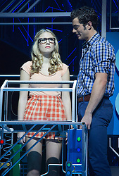 © Licensed to London News Pictures. 11/10/2012. London, England. Pictured: Eliza Hope Bennet as Holly and Stewart Clarke as Eddie. LOSERVILLE, a new original British musical created by Elliot Davis and James Bourne, is set in 1971 in an American High School and features Aaron Sidwell (EastEnders), Eliza Hope Bennett (Nanny McPhee), Stewart Clarke, Charlotte Harwood (Hollyoaks), Richard Lowe, Lil' Chris (Rock School) and Daniel Buckley. Photo credit: Bettina Strenske/LNP