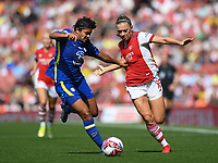 Football - 2021 / 2022 Women's Super League - Arsenal vs Chelsea - Emirates Stadium - Sunday 5th September 2021<br /> <br /> Arsenal Women's Katie McCabe holds off the challenge from Chelsea FC Women's Jess Carter.<br /> <br /> COLORSPORT/Ashley Western