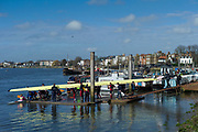Hammersmith. London. United Kingdom,  Hammersmith. London.  General View, crews boating from the Furnivall SC, Pontoon. 2018 Men's Head of the River Race.  Championship Course, River Thames, 2018 Men's Head of the River Race. , Championship Course, Putney to Mortlake. River Thames, <br /> <br /> Sunday   11/03/2018<br /> <br /> [Mandatory Credit:Peter SPURRIER Intersport Images]<br /> <br /> Leica Camera AG  M9 Digital Camera  1/2000 sec. 50 mm f. 160 ISO.  17.5MB