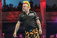 Peter Wright shows his frustration during the BetVictor World Matchplay Darts 2018 semi final at Winter Gardens, Blackpool, United Kingdom on 28 July 2018. Picture by Shane Healey.