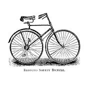Broncho Safety Bicycle From Wheels and Wheeling; An indispensable handbook for cyclists, with over two hundred illustrations by Porter, Luther Henry. Published in Boston in 1892