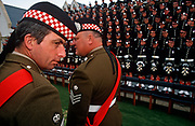 Officers of the Argyll and Sutherland Highlanders, a Scots regiment of the British Army rehearse the official portrait with Queen Elizabeth the next day, on 27th June 1996, at Redford Barracks, Edinburgh, Scotland. (Photo by Richard Baker / In Pictures via Getty Images)