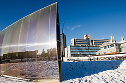The Blade sculpture, outside Sheffield Railway station, after a snow storm
