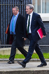 Secretary of State for International Trade Liam Fox (left) and Education Secretary Damian Hinds arrive at 10 Downing Street in London to attend the weekly meeting of the UK cabinet - London. February 06 2018.