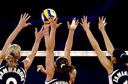 11-11-2007 VOLLEYBAL: PRE OKT: NEDERLAND - AZERBEIDZJAN: EINDHOVEN<br /> Nederland wint ook de de laatste wedstrijd. Azerbeidzjan verloor met 3-1 / Blok volleybal item illustratief creative<br /> ©2007-WWW.FOTOHOOGENDOORN.NL