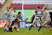 Leicester Tigers centre Matías Moroni passes the ball to full-back Freddie Steward during a Gallagher Premiership Round 10 Rugby Union match, Friday, Feb. 20, 2021, in Leicester, United Kingdom. (Steve Flynn/Image of Sport)