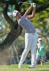 January 11, 2019 - Honolulu, HI, U.S. - HONOLULU, HI - JANUARY 11: Si Woo Kim of Korea his his tee shot at the 4th hole during the second round of the Sony Open at the Waialae Country Club in Honolulu, HI. (Photo by Darryl Oumi/Icon Sportswire) (Credit Image: © Darryl Oumi/Icon SMI via ZUMA Press)