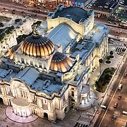 View of the Palacio de Bellas Artes in Mexico City from the 44th floor of the Torre Latinoamericana building.