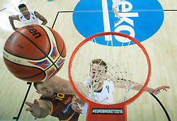 Marko Simonovski of Macedonia vs Henk Norel of Netherlands during basketball match between Netherlands and Macedonia at Day 2 in Group C of FIBA Europe Eurobasket 2015, on September 6, 2015, in Arena Zagreb, Croatia. Photo by Vid Ponikvar / Sportida
