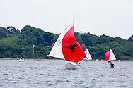 _V0A8085. ©2014 Chip Riegel / www.chipriegel.com. The 2014 Bullseye Class National Regatta, Fishers Island, NY, USA, 07/19/2014. The Bullseye is a Nathaniel Herreshoff designed 15' Marconi rig sailing boat.